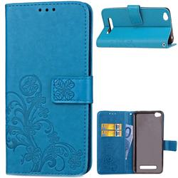 Embossing Imprint Four-Leaf Clover Leather Wallet Case for Xiaomi Redmi 4A - Blue