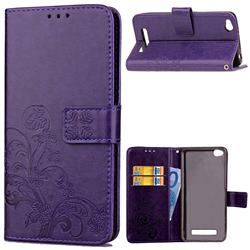 Embossing Imprint Four-Leaf Clover Leather Wallet Case for Xiaomi Redmi 4A - Purple