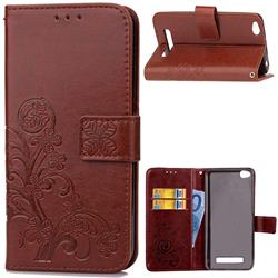 Embossing Imprint Four-Leaf Clover Leather Wallet Case for Xiaomi Redmi 4A - Brown