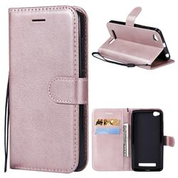 Retro Greek Classic Smooth PU Leather Wallet Phone Case for Xiaomi Redmi 4A - Rose Gold