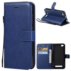 Retro Greek Classic Smooth PU Leather Wallet Phone Case for Xiaomi Redmi 4A - Blue