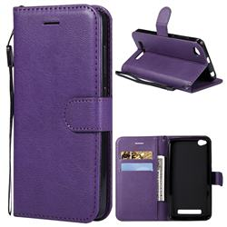 Retro Greek Classic Smooth PU Leather Wallet Phone Case for Xiaomi Redmi 4A - Purple