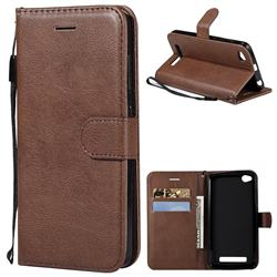 Retro Greek Classic Smooth PU Leather Wallet Phone Case for Xiaomi Redmi 4A - Brown