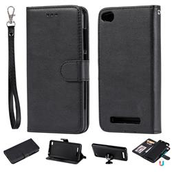 Retro Greek Detachable Magnetic PU Leather Wallet Phone Case for Xiaomi Redmi 4A - Black