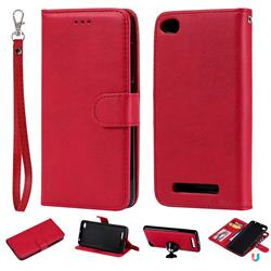 Retro Greek Detachable Magnetic PU Leather Wallet Phone Case for Xiaomi Redmi 4A - Red