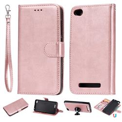 Retro Greek Detachable Magnetic PU Leather Wallet Phone Case for Xiaomi Redmi 4A - Rose Gold