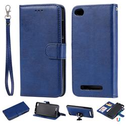Retro Greek Detachable Magnetic PU Leather Wallet Phone Case for Xiaomi Redmi 4A - Blue