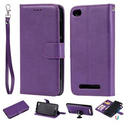 Retro Greek Detachable Magnetic PU Leather Wallet Phone Case for Xiaomi Redmi 4A - Purple