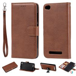 Retro Greek Detachable Magnetic PU Leather Wallet Phone Case for Xiaomi Redmi 4A - Brown