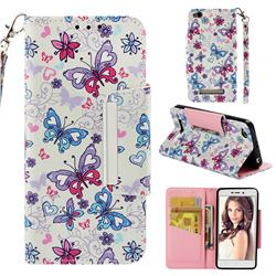 Colored Butterfly Big Metal Buckle PU Leather Wallet Phone Case for Xiaomi Redmi 4A