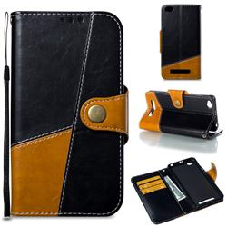Retro Magnetic Stitching Wallet Flip Cover for Xiaomi Redmi 4A - Black