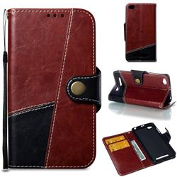 Retro Magnetic Stitching Wallet Flip Cover for Xiaomi Redmi 4A - Dark Red