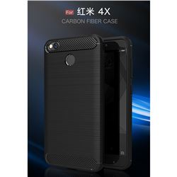 Luxury Carbon Fiber Brushed Wire Drawing Silicone TPU Back Cover for Xiaomi Redmi 4 (4X) (Black)