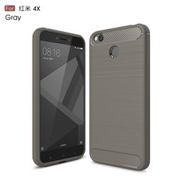 Luxury Carbon Fiber Brushed Wire Drawing Silicone TPU Back Cover for Xiaomi Redmi 4 (4X) (Gray)