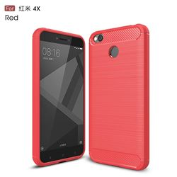 Luxury Carbon Fiber Brushed Wire Drawing Silicone TPU Back Cover for Xiaomi Redmi 4 (4X) (Red)
