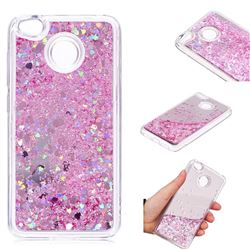 Glitter Sand Mirror Quicksand Dynamic Liquid Star TPU Case for Xiaomi Redmi 4 (4X) - Cherry Pink