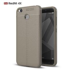 Luxury Auto Focus Litchi Texture Silicone TPU Back Cover for Xiaomi Redmi 4 (4X) - Gray