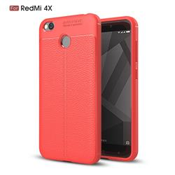 Luxury Auto Focus Litchi Texture Silicone TPU Back Cover for Xiaomi Redmi 4 (4X) - Red