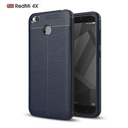 Luxury Auto Focus Litchi Texture Silicone TPU Back Cover for Xiaomi Redmi 4 (4X) - Dark Blue