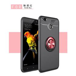 Auto Focus Invisible Ring Holder Soft Phone Case for Xiaomi Redmi 4 (4X) - Black Red