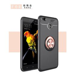Auto Focus Invisible Ring Holder Soft Phone Case for Xiaomi Redmi 4 (4X) - Black Gold