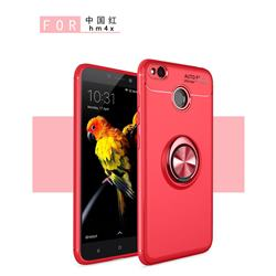 Auto Focus Invisible Ring Holder Soft Phone Case for Xiaomi Redmi 4 (4X) - Red
