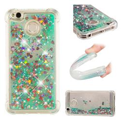 Dynamic Liquid Glitter Sand Quicksand TPU Case for Xiaomi Redmi 4 (4X) - Green Love Heart