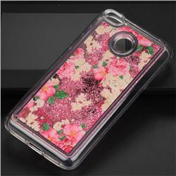 Rose Flower Glassy Glitter Quicksand Dynamic Liquid Soft Phone Case for Xiaomi Redmi 4 (4X)