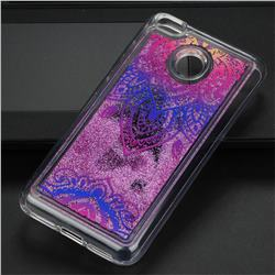 Blue and White Glassy Glitter Quicksand Dynamic Liquid Soft Phone Case for Xiaomi Redmi 4 (4X)