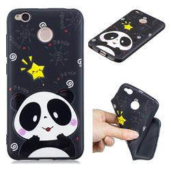 Cute Bear 3D Embossed Relief Black TPU Cell Phone Back Cover for Xiaomi Redmi 4 (4X)