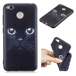 Bearded Feline 3D Embossed Relief Black TPU Cell Phone Back Cover for Xiaomi Redmi 4 (4X)