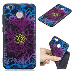 Colorful Lace 3D Embossed Relief Black TPU Cell Phone Back Cover for Xiaomi Redmi 4 (4X)