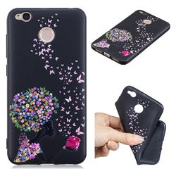 Corolla Girl 3D Embossed Relief Black TPU Cell Phone Back Cover for Xiaomi Redmi 4 (4X)