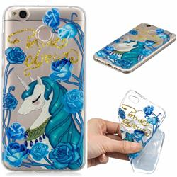 Blue Flower Unicorn Clear Varnish Soft Phone Back Cover for Xiaomi Redmi 4 (4X)