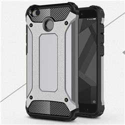 King Kong Armor Premium Shockproof Dual Layer Rugged Hard Cover for Xiaomi Redmi 4 (4X) - Silver Grey