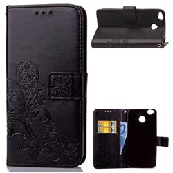 Embossing Imprint Four-Leaf Clover Leather Wallet Case for Xiaomi Redmi 4 (4X) - Black