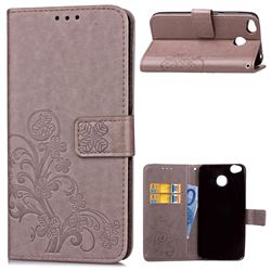 Embossing Imprint Four-Leaf Clover Leather Wallet Case for Xiaomi Redmi 4 (4X) - Grey
