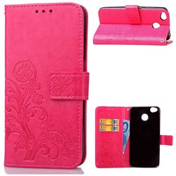 Embossing Imprint Four-Leaf Clover Leather Wallet Case for Xiaomi Redmi 4 (4X) - Rose