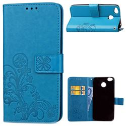 Embossing Imprint Four-Leaf Clover Leather Wallet Case for Xiaomi Redmi 4 (4X) - Blue