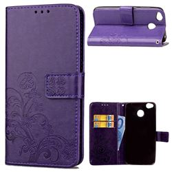 Embossing Imprint Four-Leaf Clover Leather Wallet Case for Xiaomi Redmi 4 (4X) - Purple