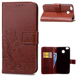Embossing Imprint Four-Leaf Clover Leather Wallet Case for Xiaomi Redmi 4 (4X) - Brown
