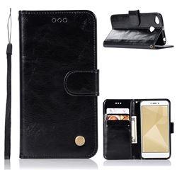 Luxury Retro Leather Wallet Case for Xiaomi Redmi 4 (4X) - Black