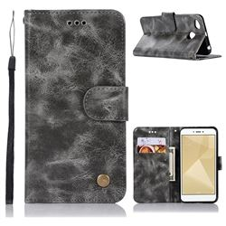 Luxury Retro Leather Wallet Case for Xiaomi Redmi 4 (4X) - Gray