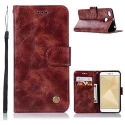 Luxury Retro Leather Wallet Case for Xiaomi Redmi 4 (4X) - Wine Red