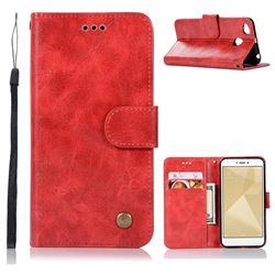 Luxury Retro Leather Wallet Case for Xiaomi Redmi 4 (4X) - Red
