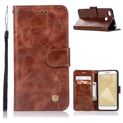 Luxury Retro Leather Wallet Case for Xiaomi Redmi 4 (4X) - Brown