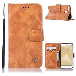 Luxury Retro Leather Wallet Case for Xiaomi Redmi 4 (4X) - Golden