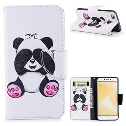 Lovely Panda Leather Wallet Case for Xiaomi Redmi 4 (4X)