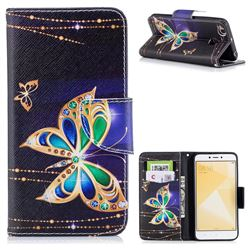 Golden Shining Butterfly Leather Wallet Case for Xiaomi Redmi 4 (4X)