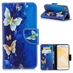 Golden Butterflies Leather Wallet Case for Xiaomi Redmi 4 (4X)
